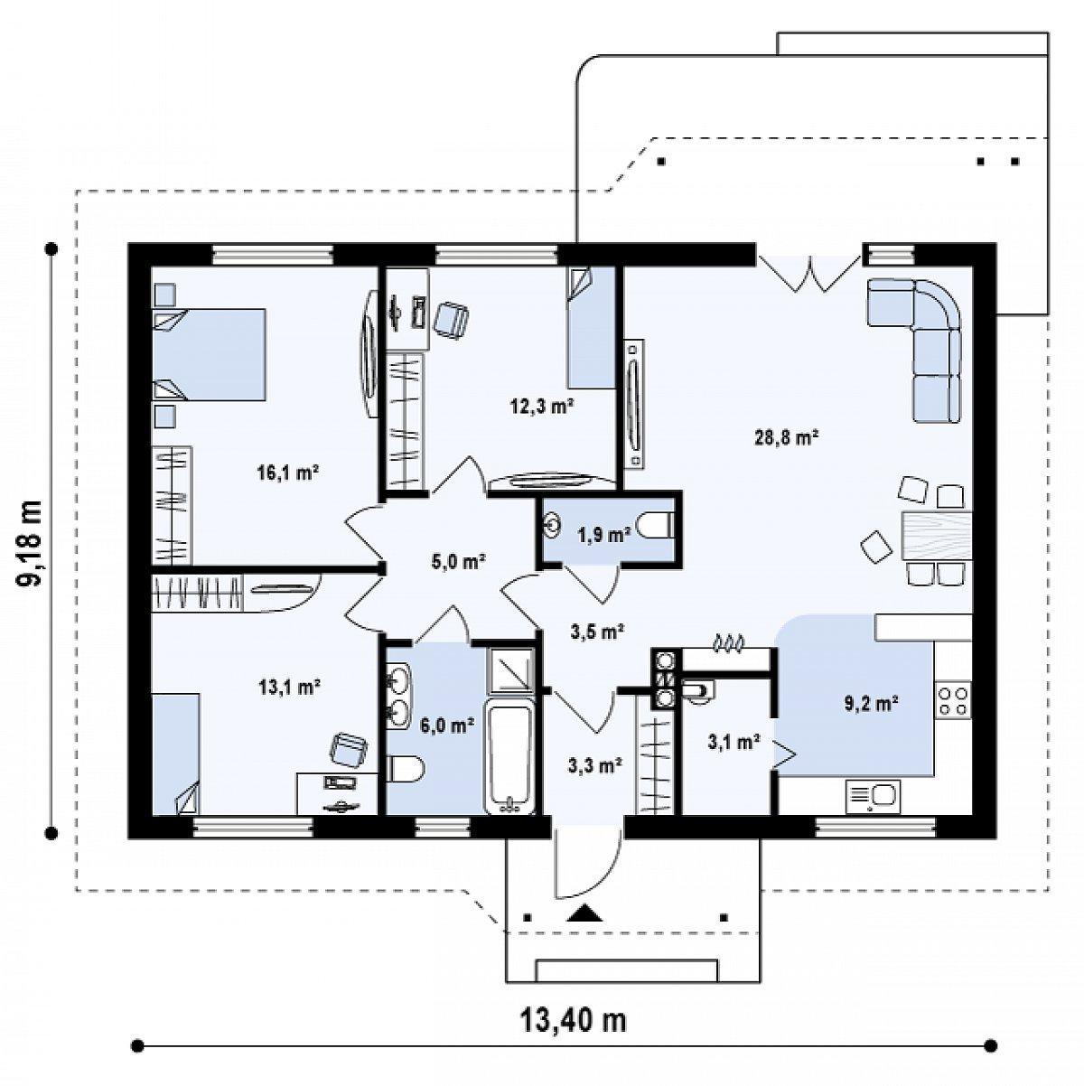 Первый этаж 102,3м² дома Z69