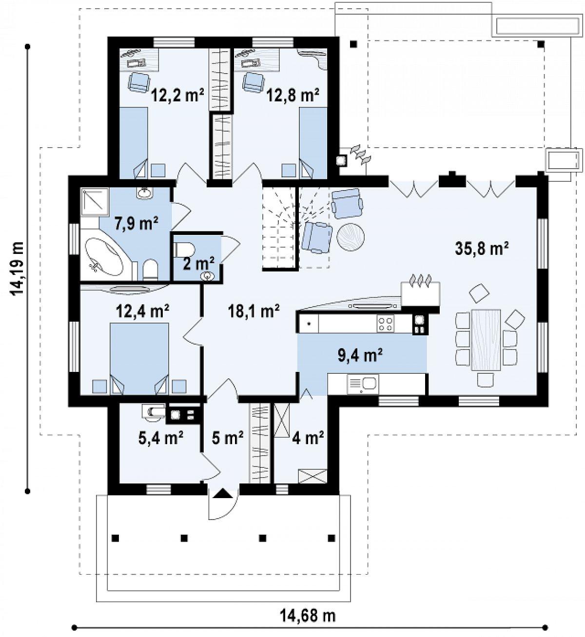 Первый этаж 125,1м² дома Z6