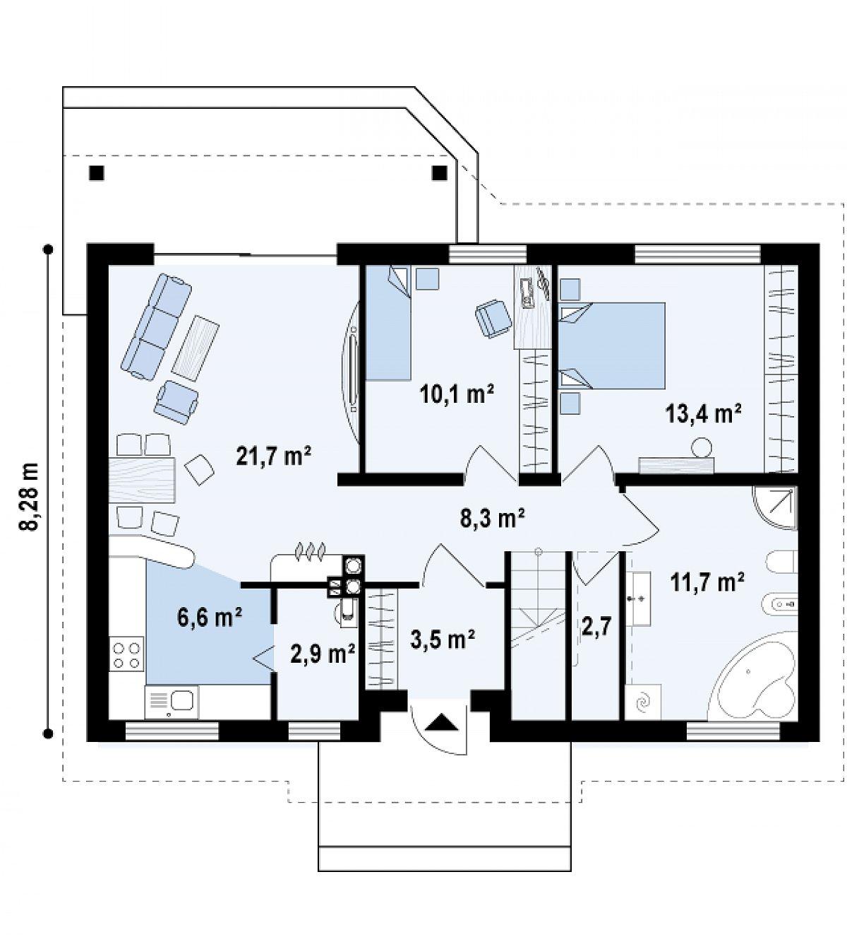 Первый этаж 93,2м² дома Z7 P 35