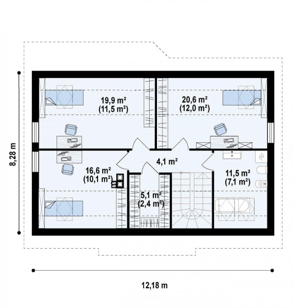 Второй этаж 47,3(77,8м²) дома Z7 P 35