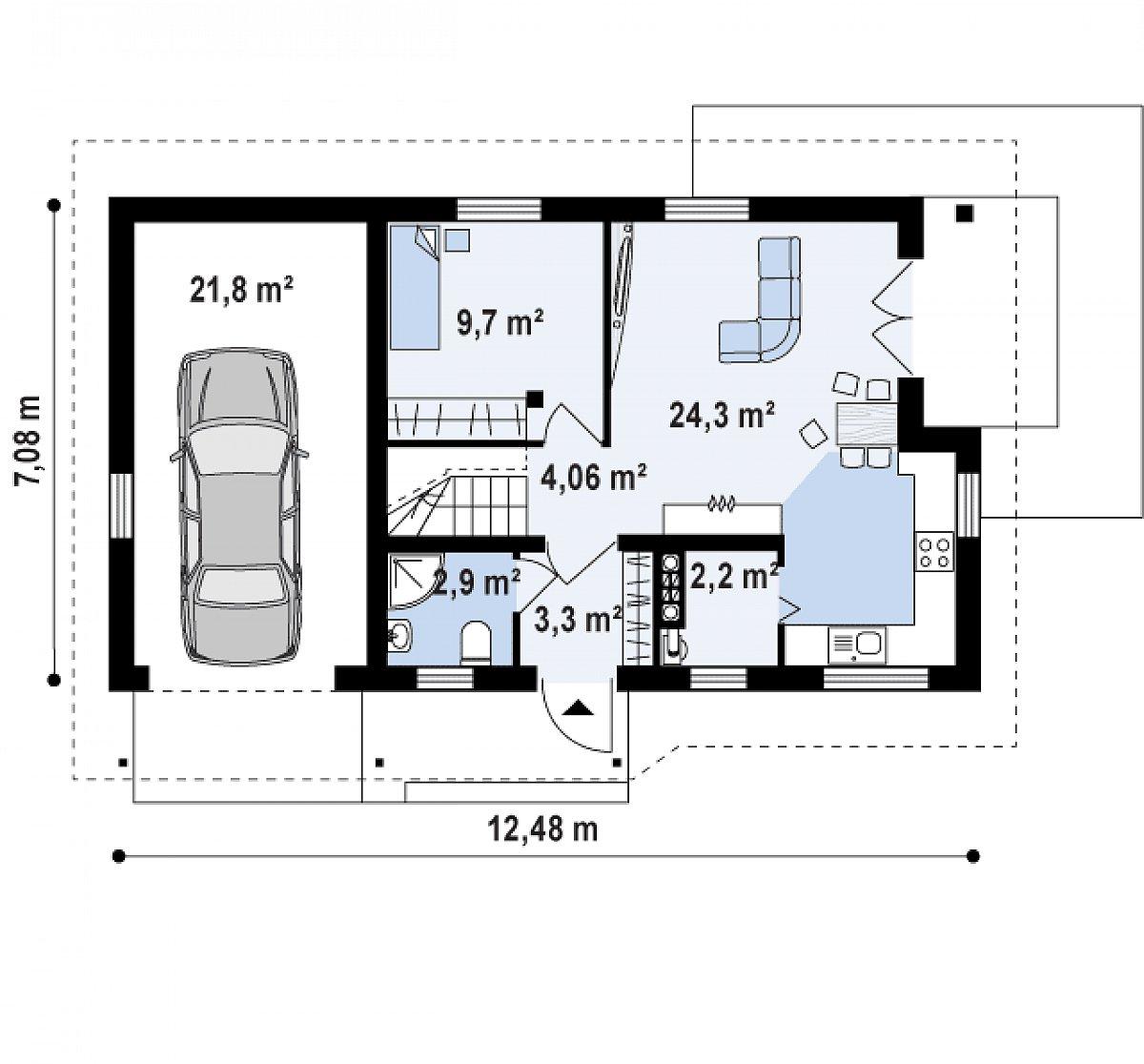 Первый этаж 47,3(64,1м²) дома Z71 GL