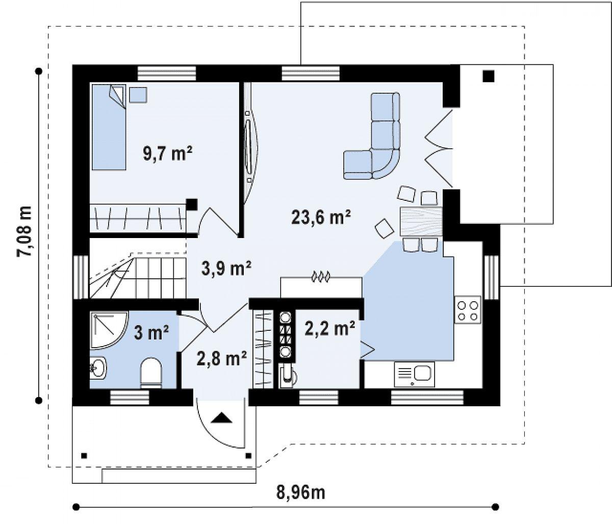 Первый этаж 45,8м² дома Z71