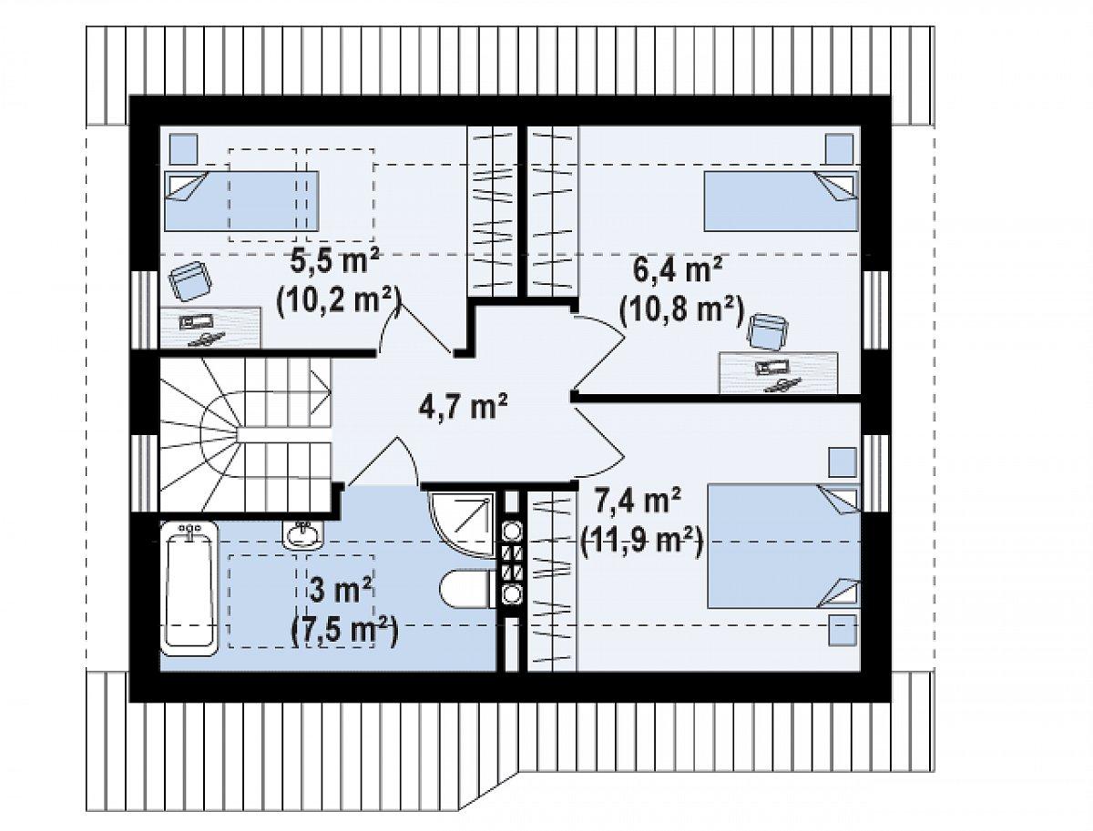 Второй этаж 30,1(45,7м²) дома Z71