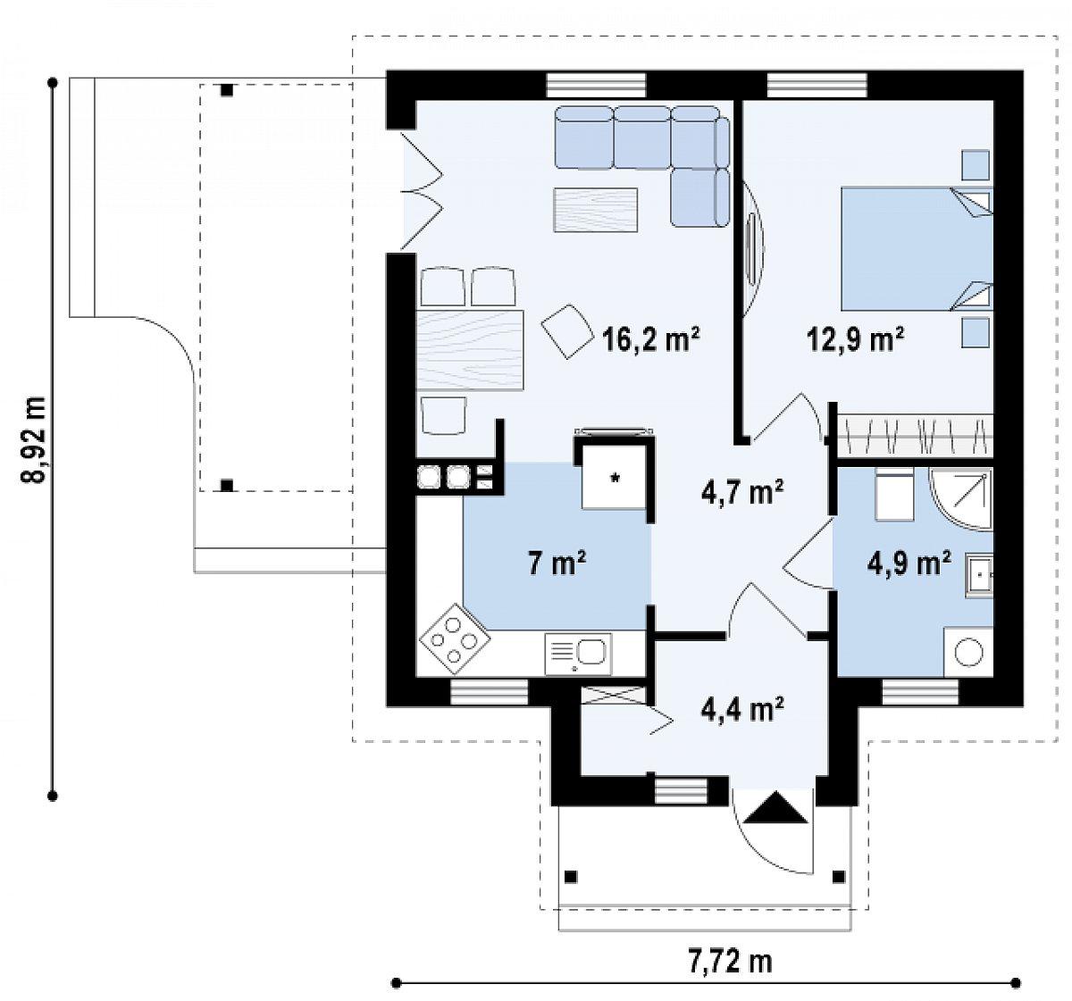 Первый этаж 50,1м² дома Z73