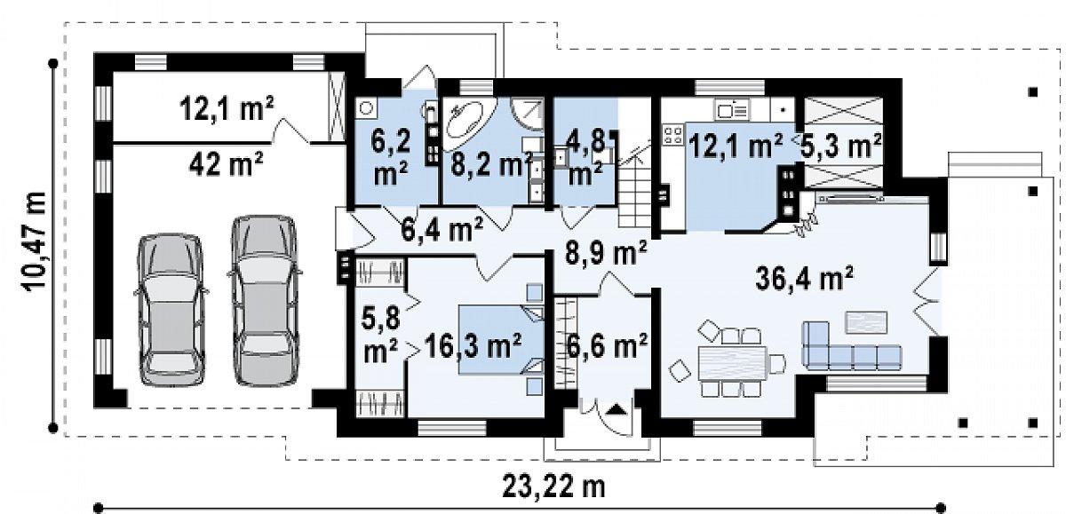 Первый этаж 117,2(171,2м²) дома Z74