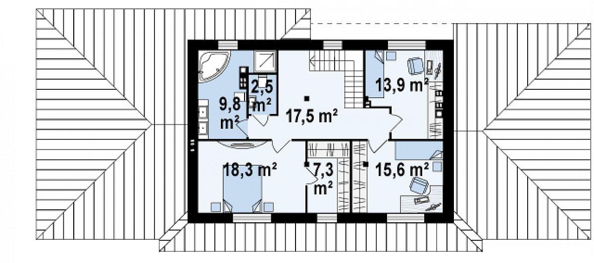 Второй этаж 86,4м² дома Z74