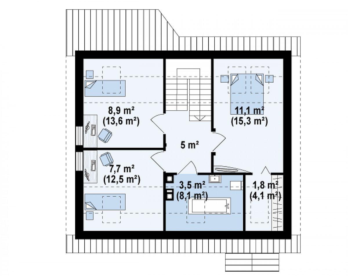 Второй этаж 38,1(58,5м²) дома Z75