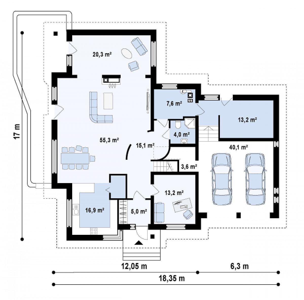 Первый этаж 154,2(194,3м²) дома Z76