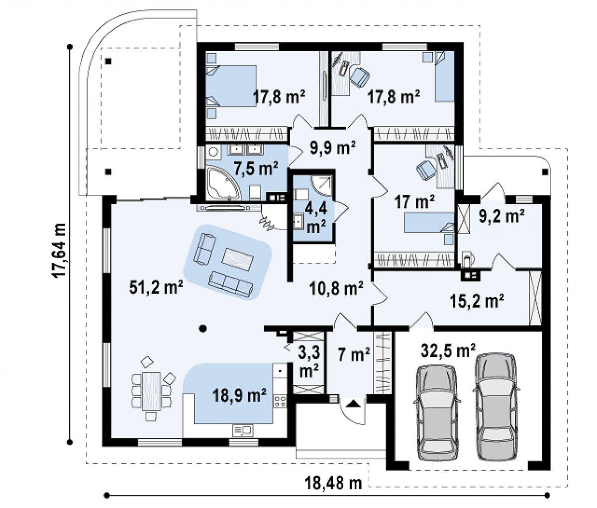 Первый этаж 190,3(222,8м²) дома Z77