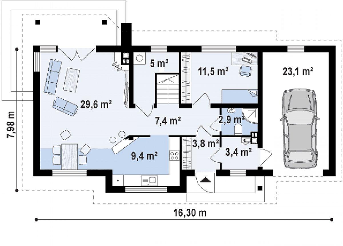 Первый этаж 73,2(96,3м²) дома Z79 GP