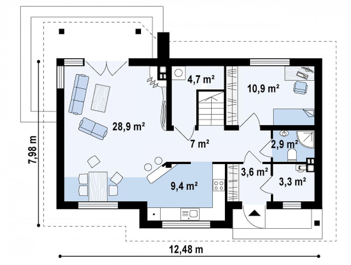 Первый этаж 70,8м² дома Z79