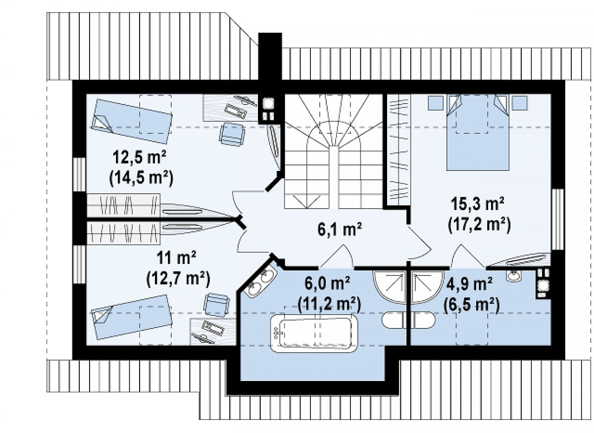 Второй этаж 56,0(68,1м²) дома Z79