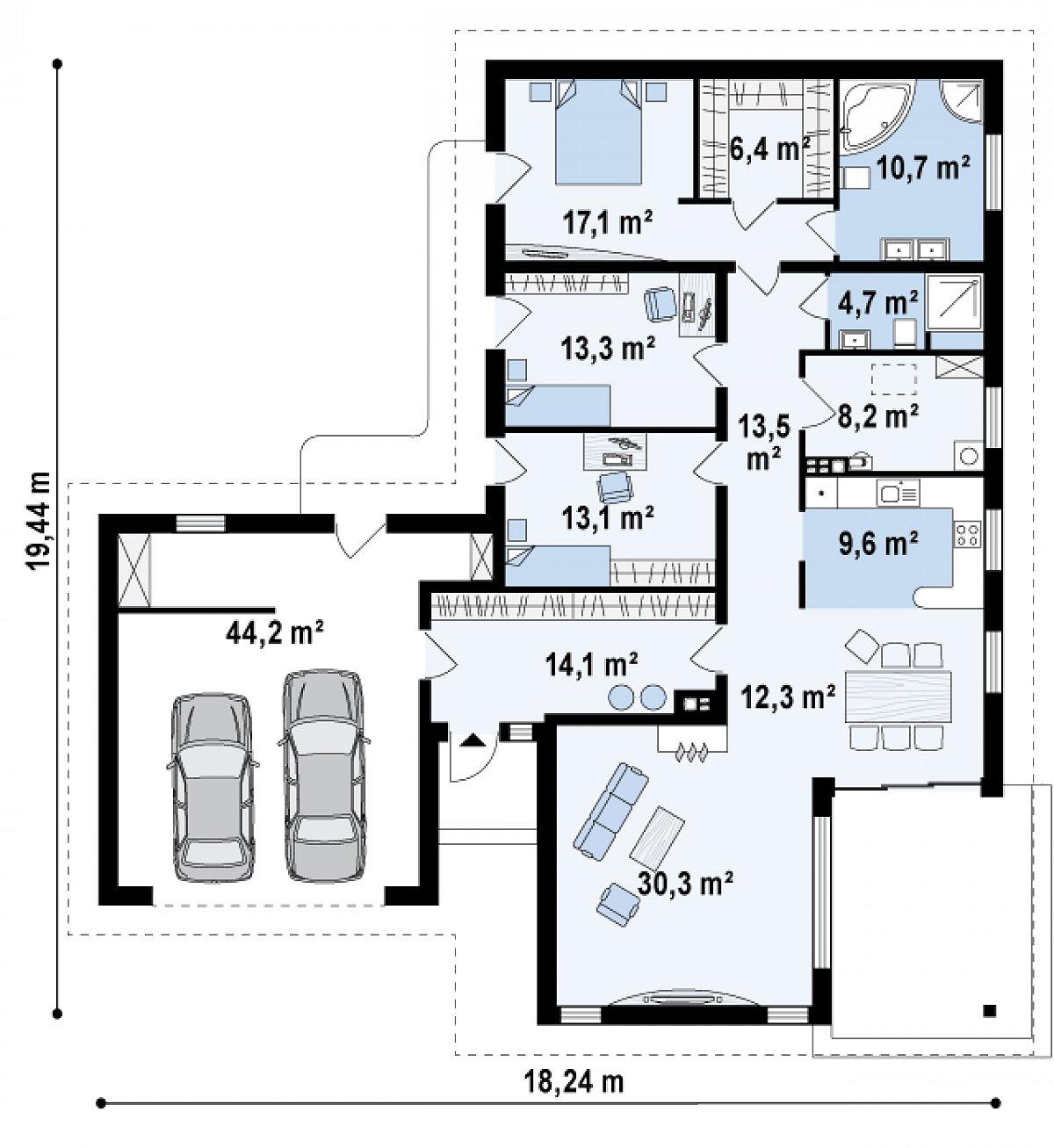 Первый этаж 153,3(197,6м²) дома Z80
