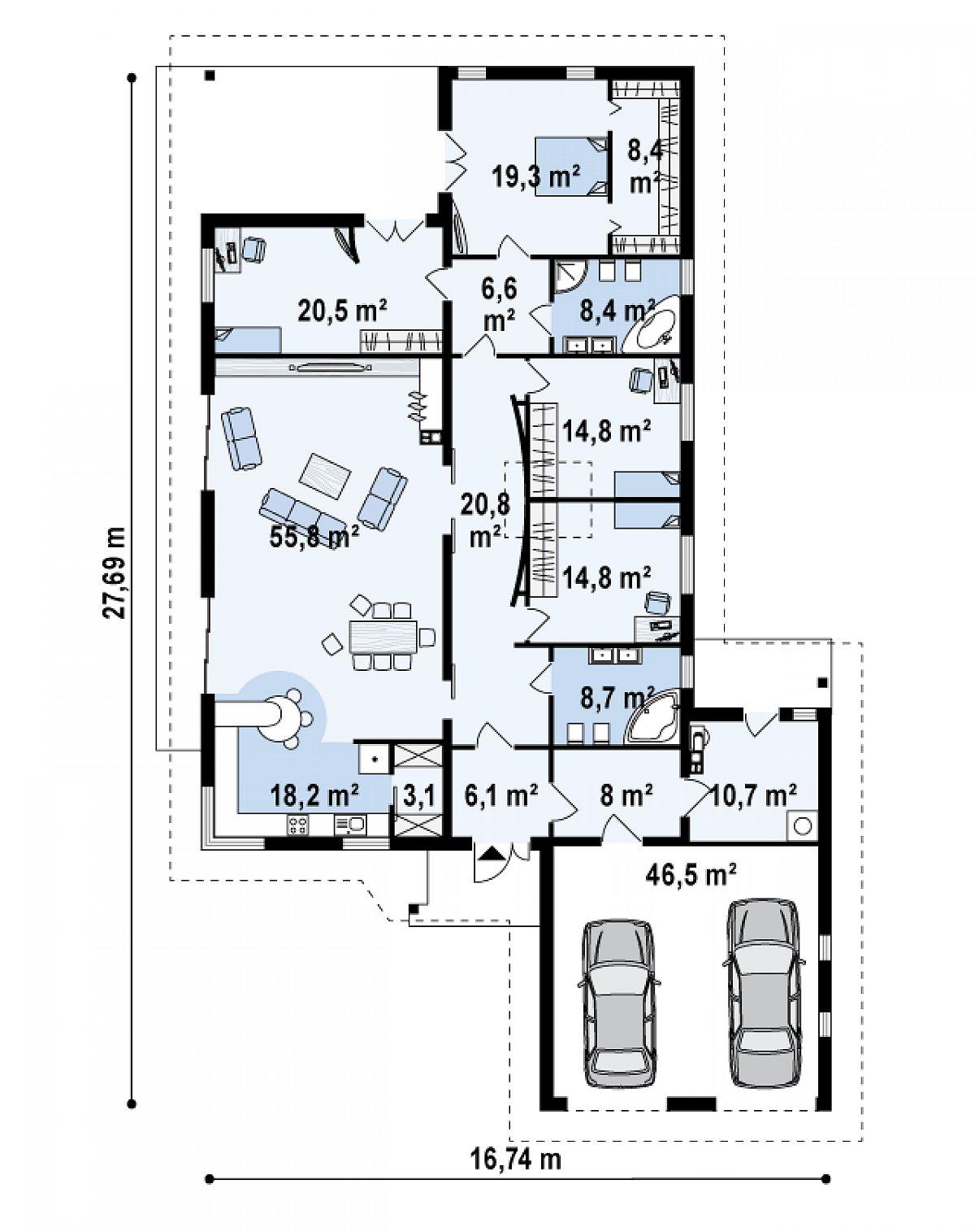 Первый этаж 224,4(270,9м²) дома Z82