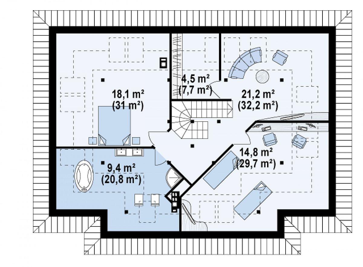 Второй этаж 68,0(121,5м²) дома Z83