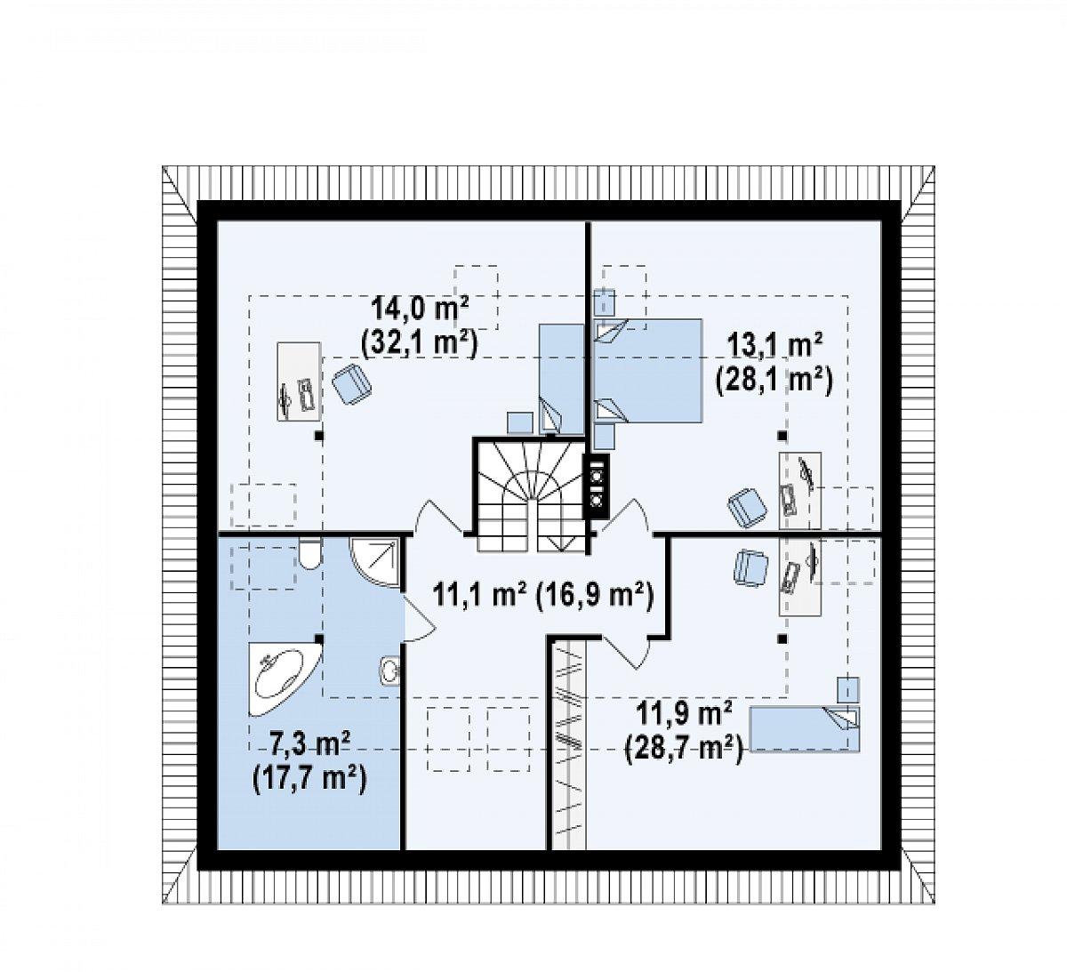 Второй этаж 57,3(123,5м²) дома Z84