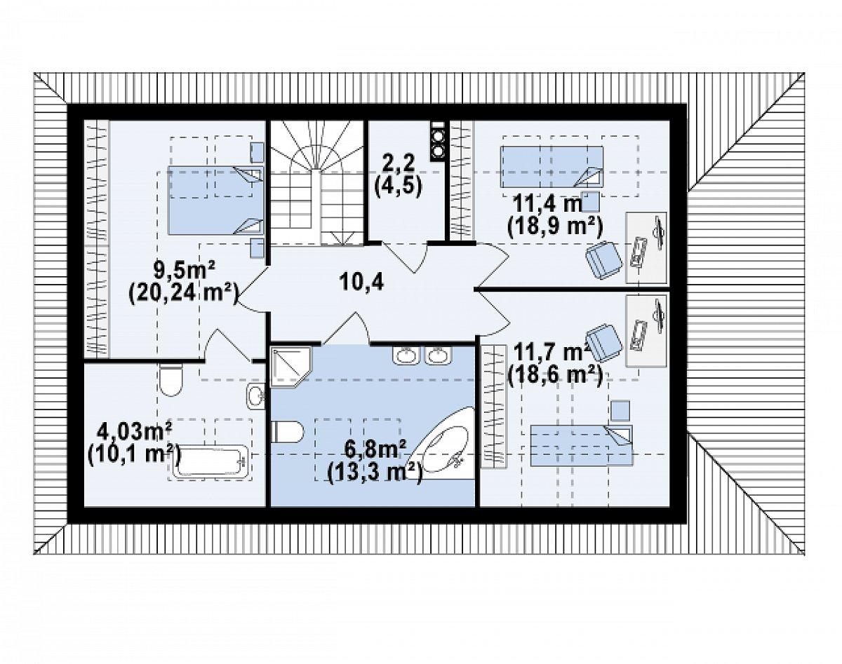 Второй этаж 51,2(96,1м²) дома Z85 C