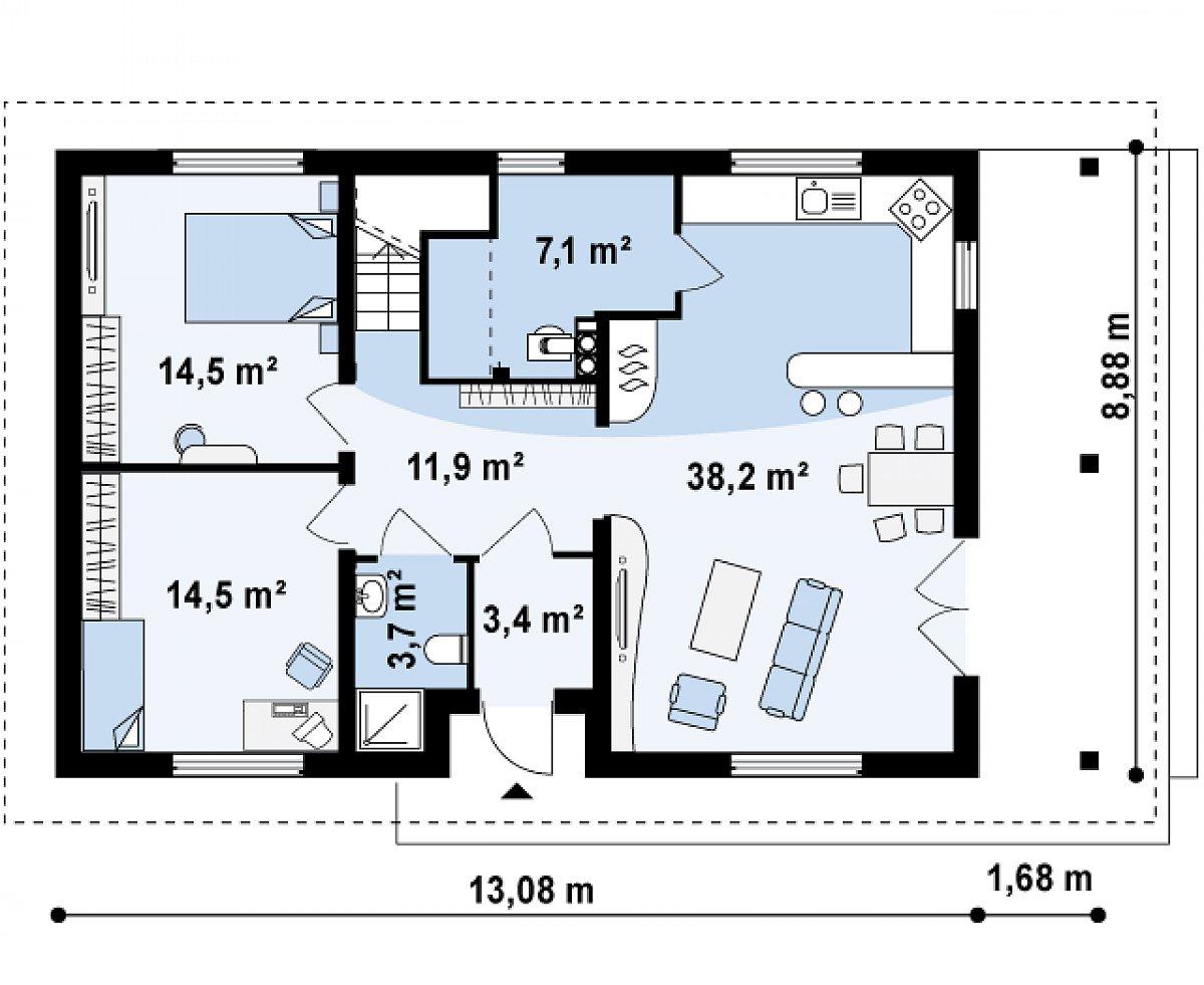 Первый этаж 93,3м² дома Z85