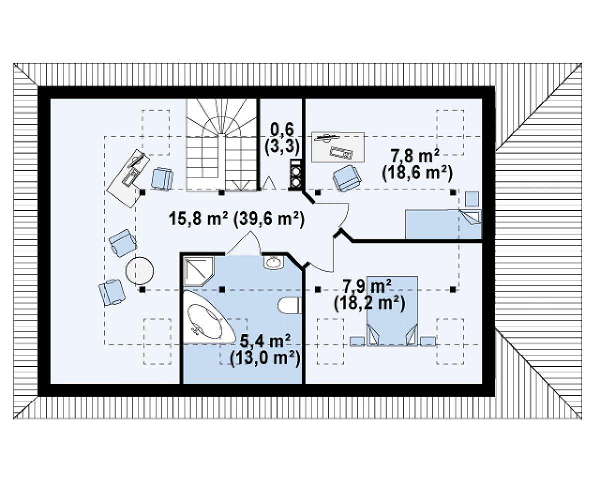 Второй этаж 37,6(92,7м²) дома Z85