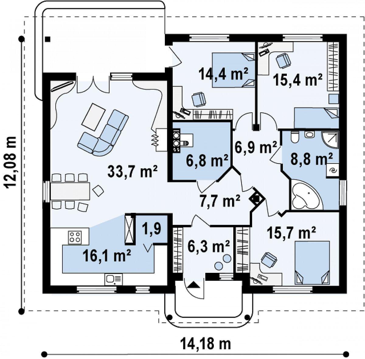 Первый этаж 131,7м² дома Z86 bG