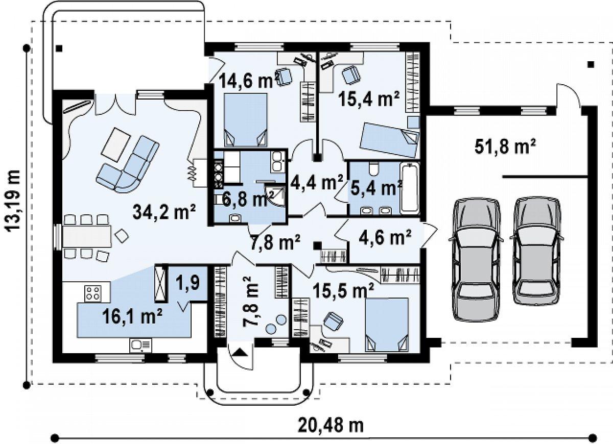 Первый этаж 134,2(186,0м²) дома Z86
