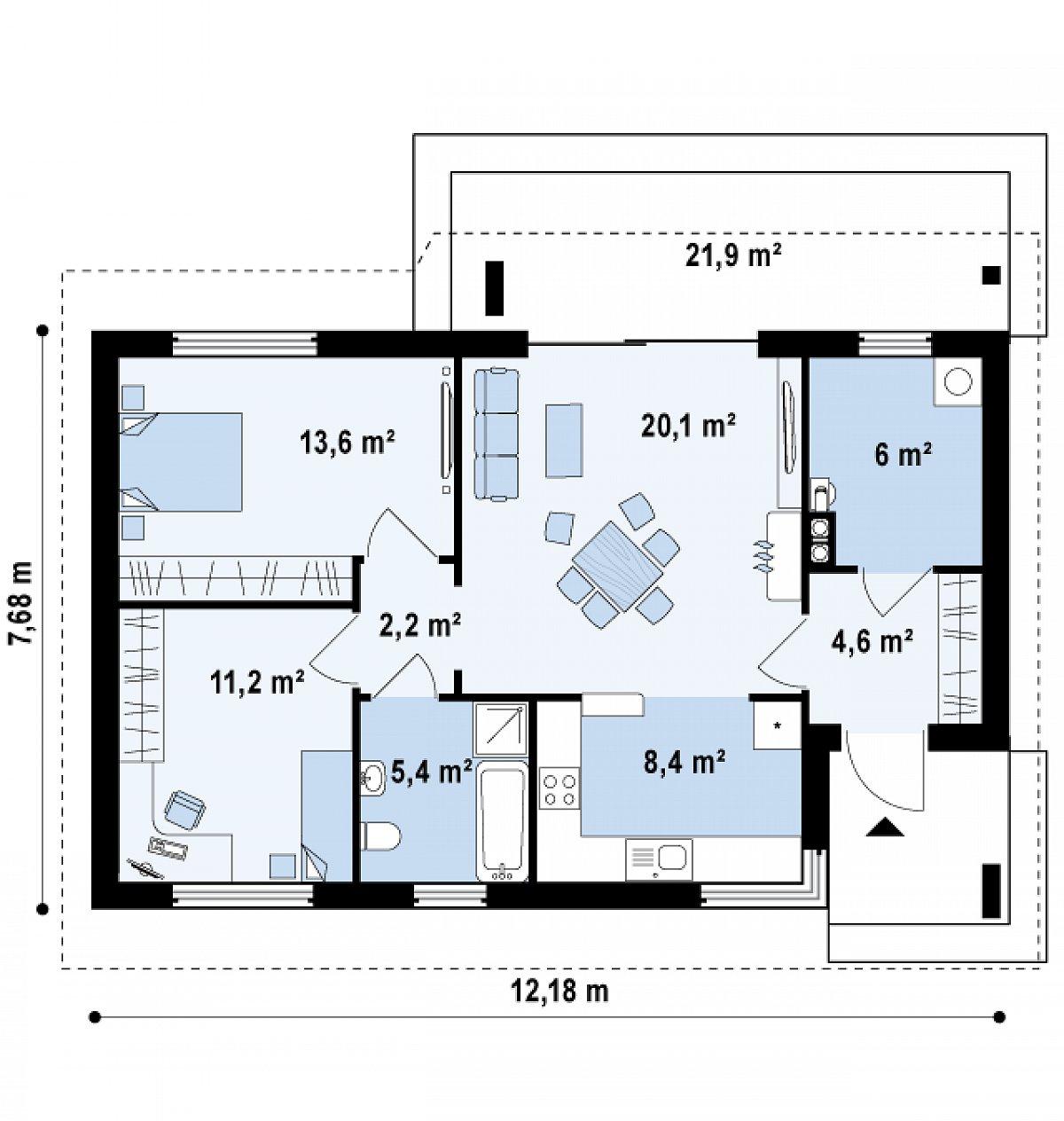 Первый этаж 71,5м² дома Z87