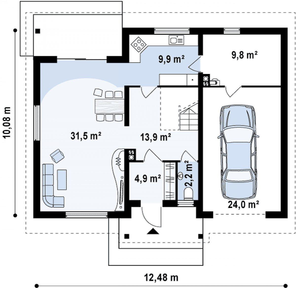Первый этаж 71,7(95,7м²) дома Z88
