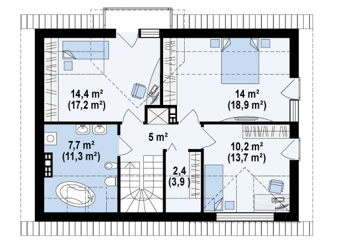 Второй этаж 53,7(70,0м²) дома Z89