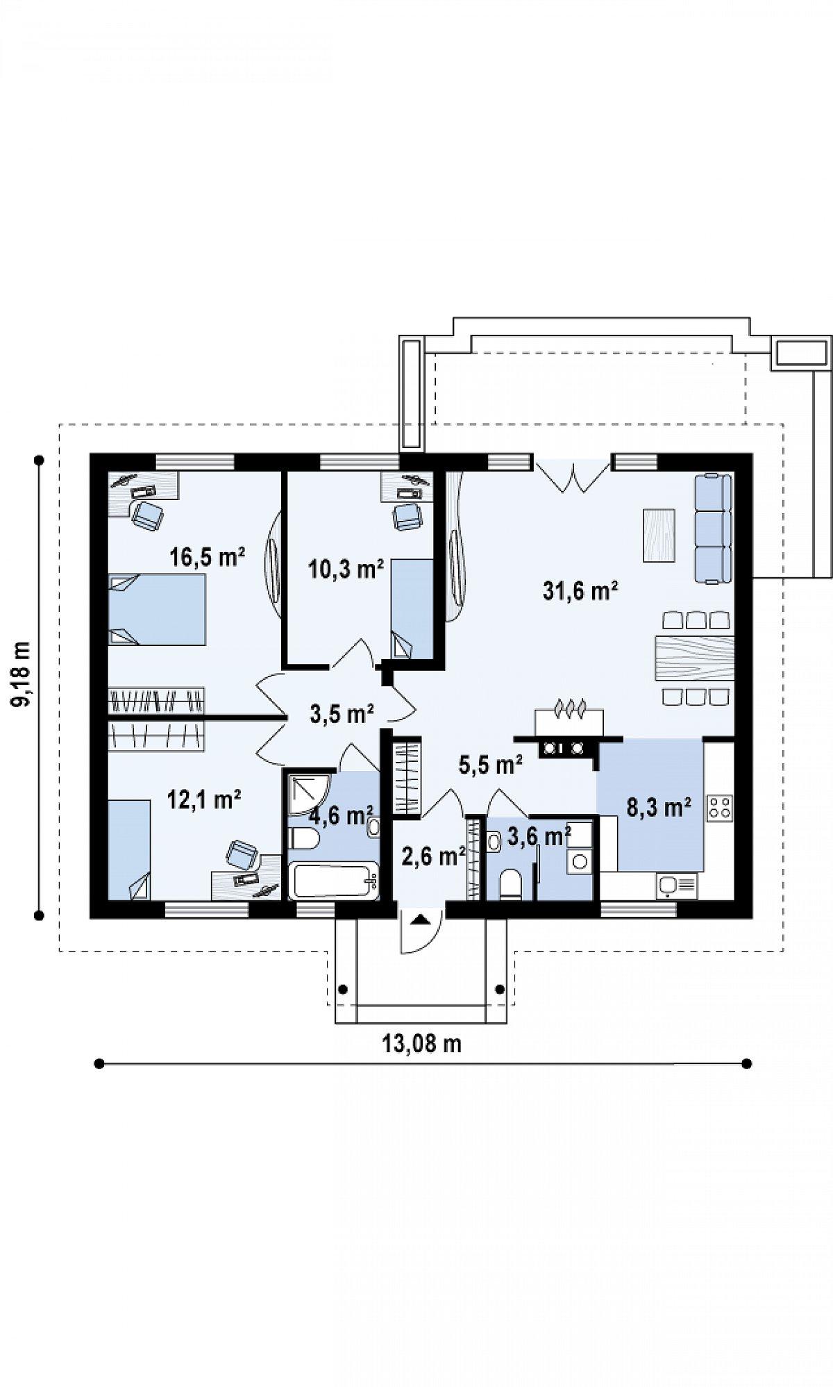 Первый этаж 98,6м² дома Z8
