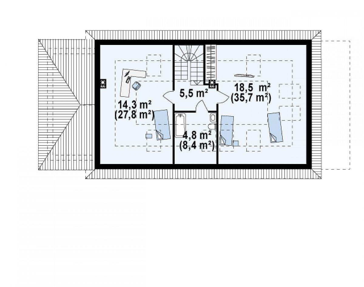Второй этаж 43,1(77,4м²) дома Z90