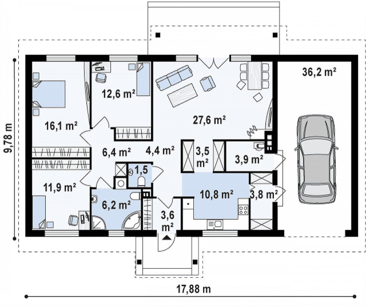 Первый этаж 112,4(148,6м²) дома Z91 GP