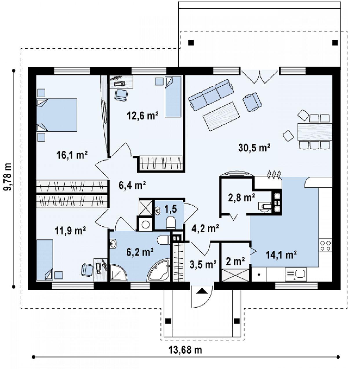 Первый этаж 111,8м² дома Z91