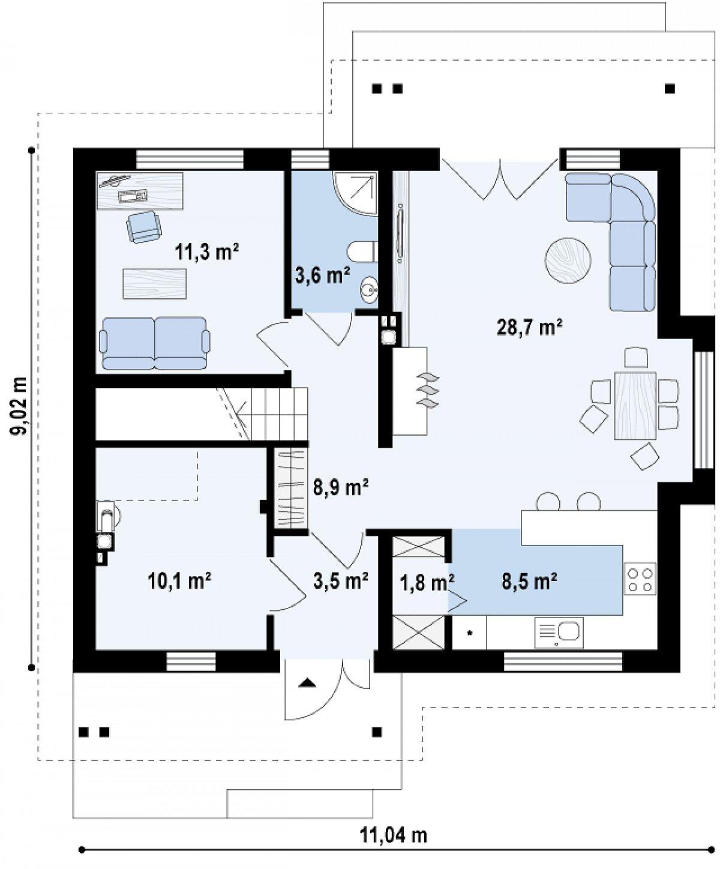 Первый этаж 76,2(76,2м²) дома Z92