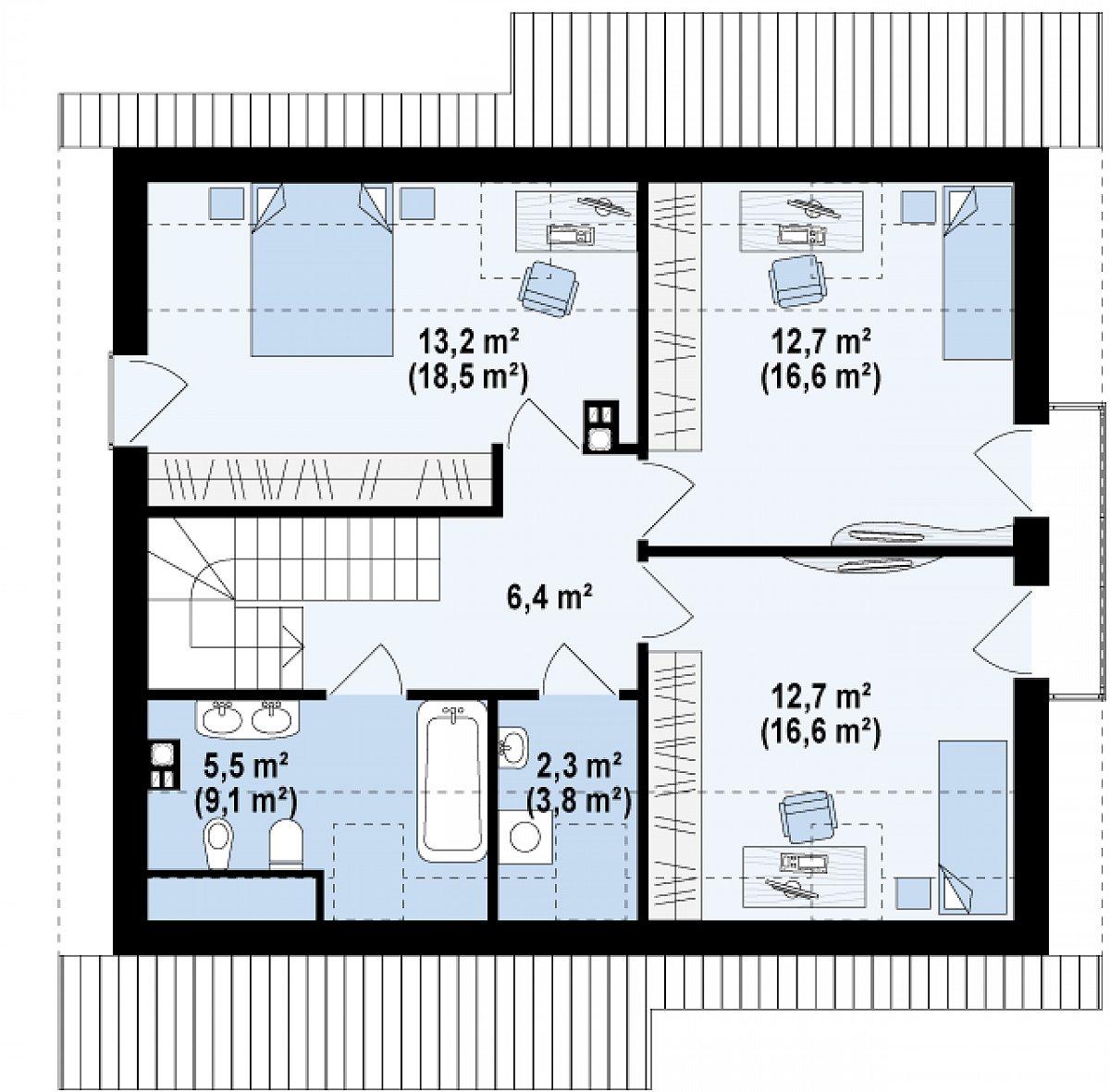 Второй этаж 52,8(70,9м²) дома Z92
