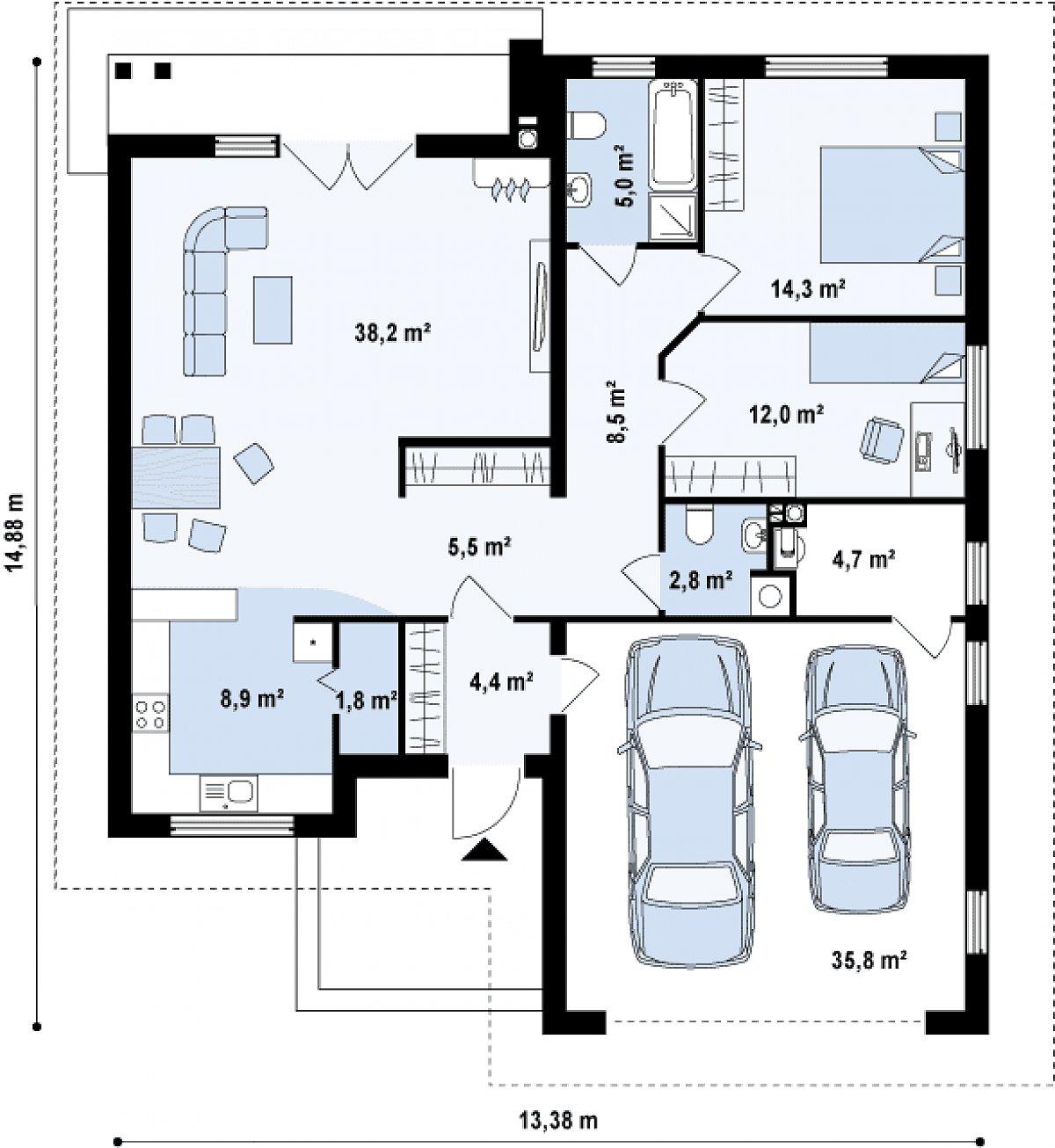 Первый этаж 106,1(141,9м²) дома Z94