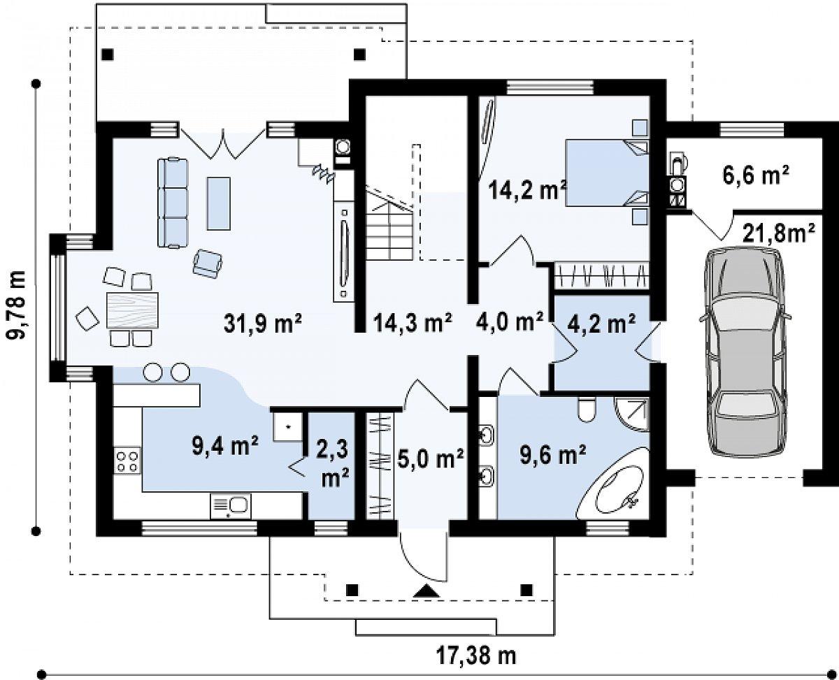 Первый этаж 95,0(123,4м²) дома Z95 GL