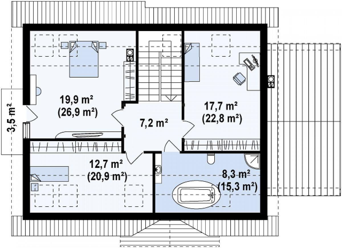 Второй этаж 65,8(93,2м²) дома Z95 GL