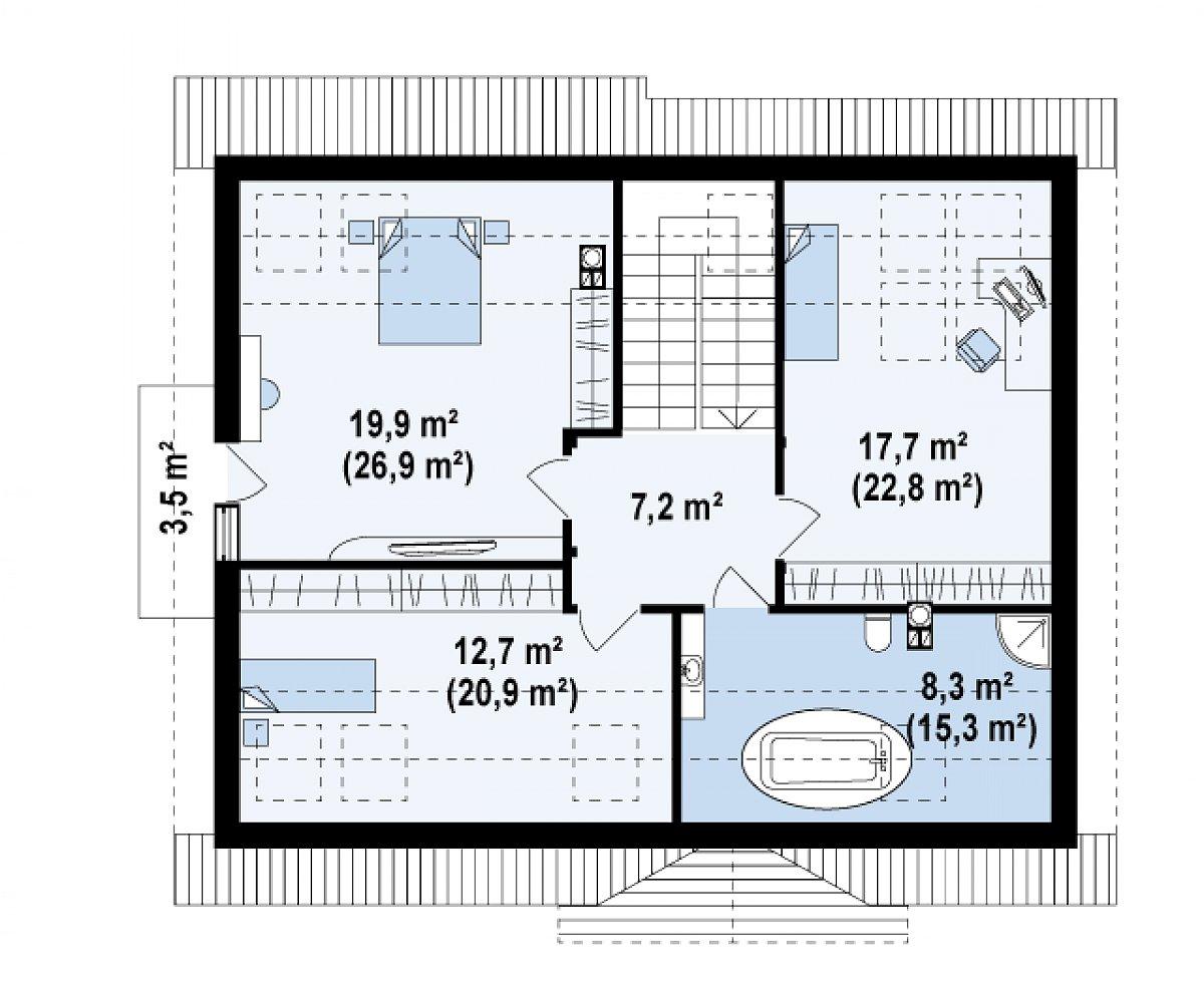 Второй этаж 65,8(93,2м²) дома Z95