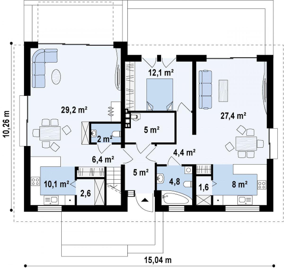 Первый этаж 118,6м² дома Z97