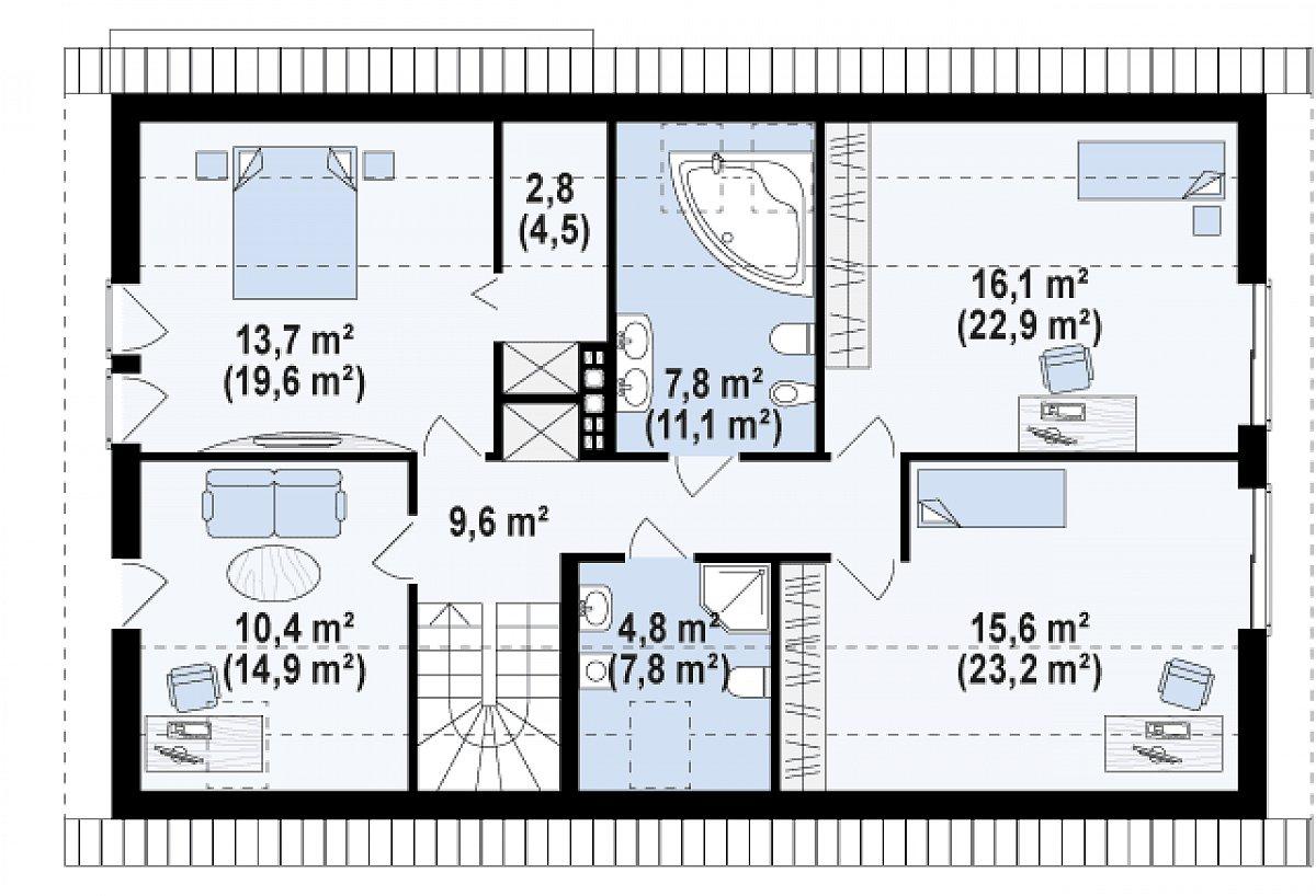 Второй этаж 80,1(113,3м²) дома Z97