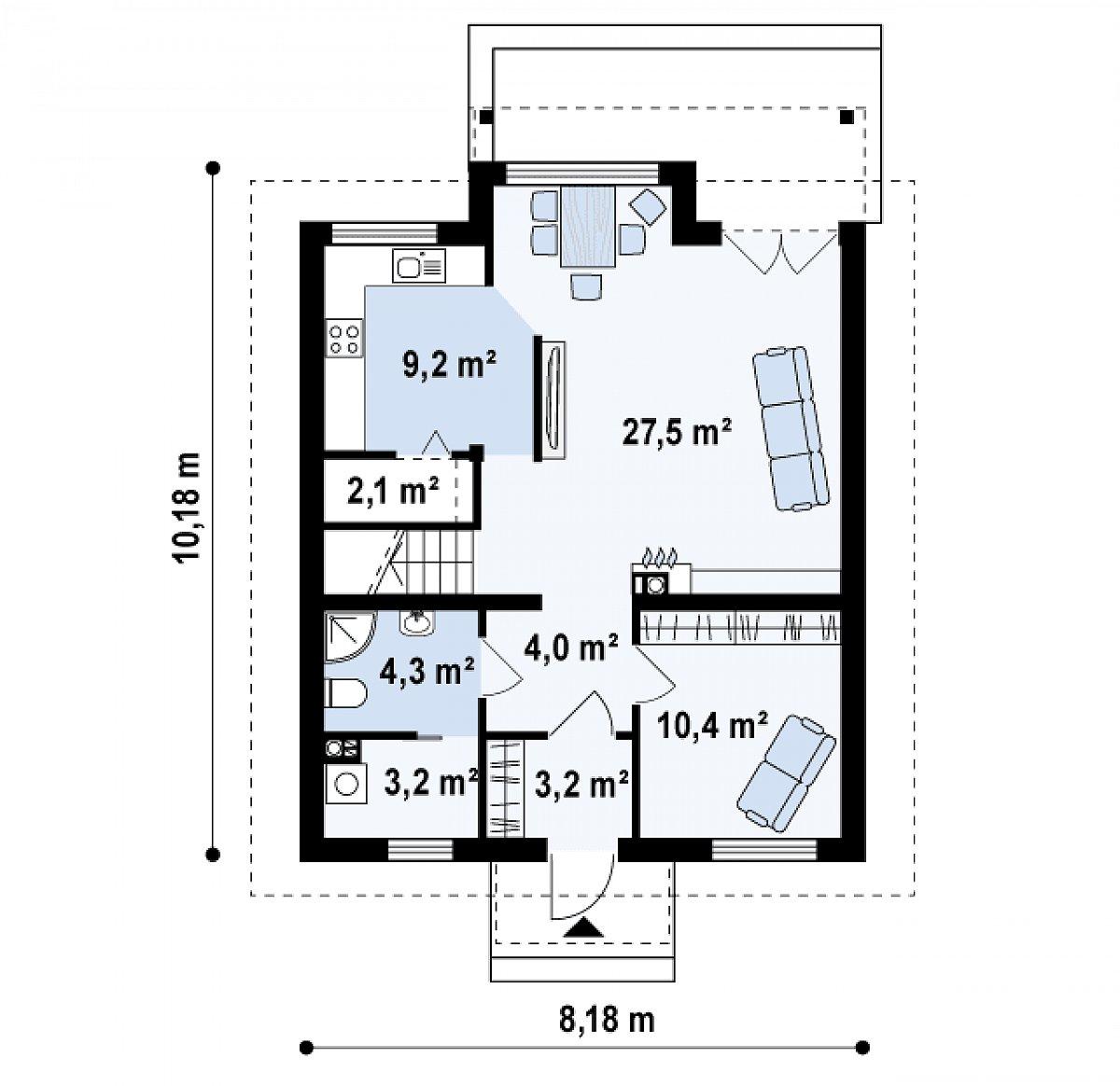 Первый этаж 62,3м² дома Z99