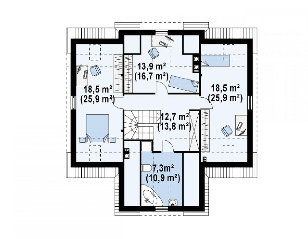 Второй этаж 70,8(92,9м²) дома Z9