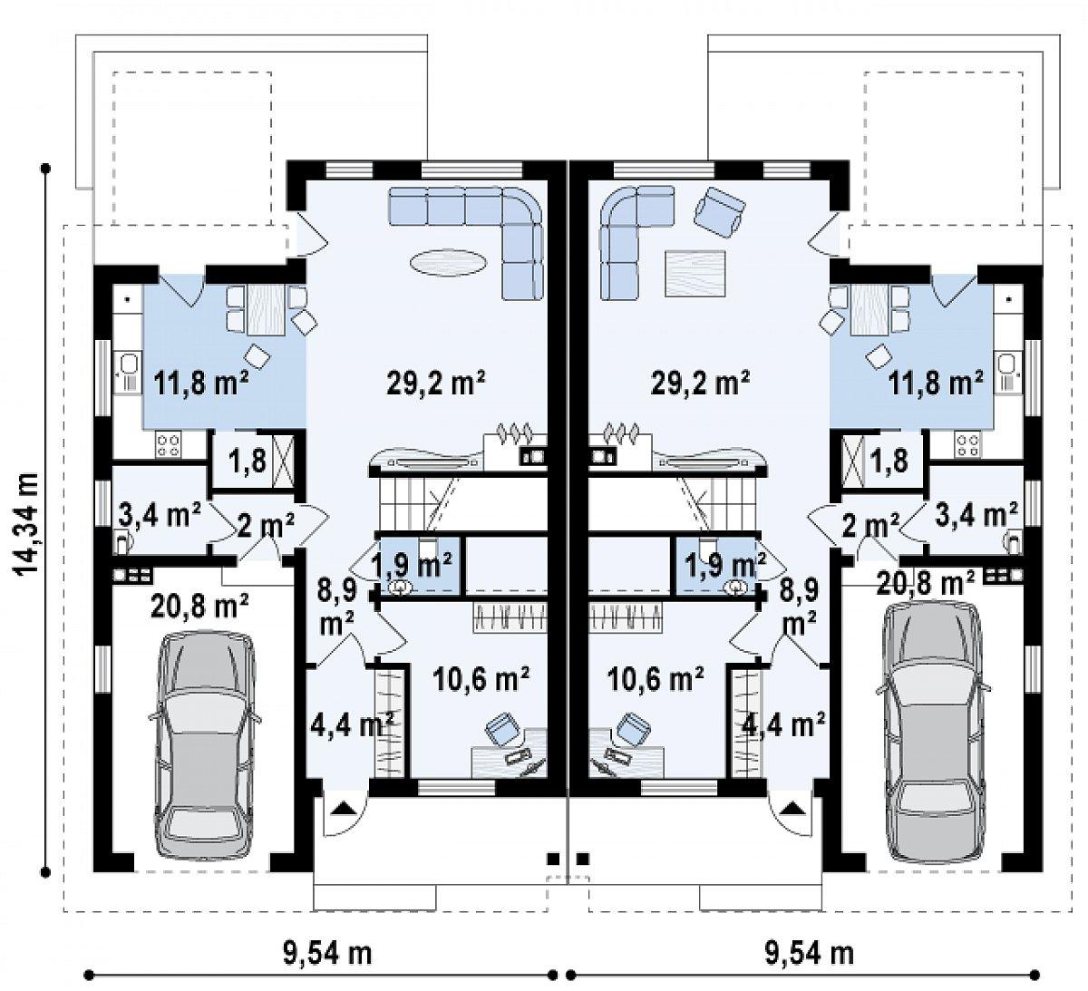 Первый этаж 74,1(94,9м²) дома Zb11