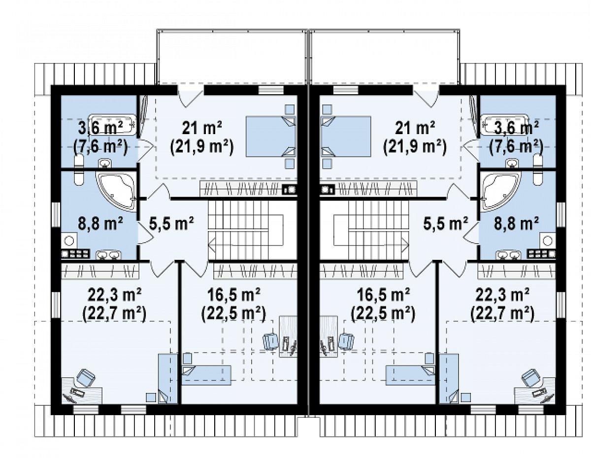 Второй этаж 77,7(89,0м²) дома Zb11