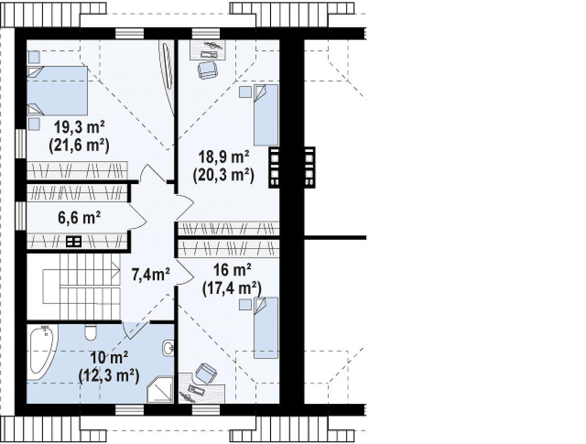 Второй этаж 77,0(85,2м²) дома Zb12