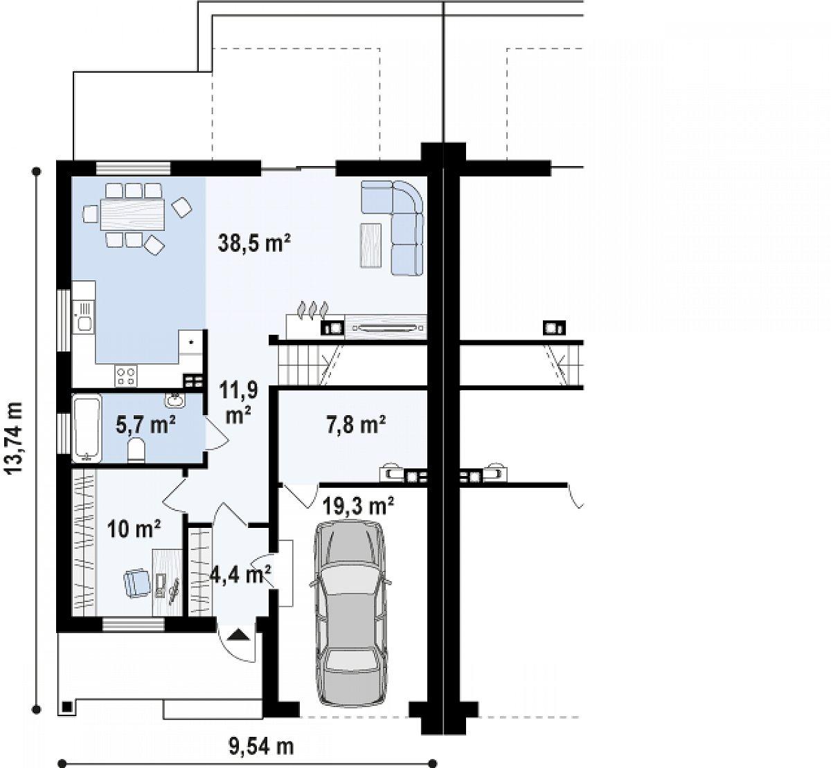 Первый этаж 78,1(97,4м²) дома Zb13
