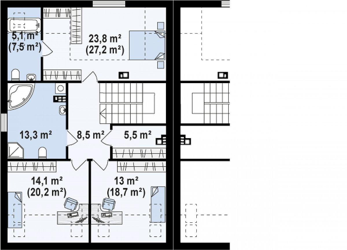 Второй этаж 85,7(100,3м²) дома Zb13