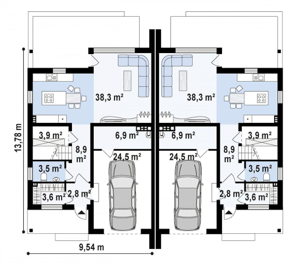 Первый этаж 58,9(83,5м²) дома Zb15