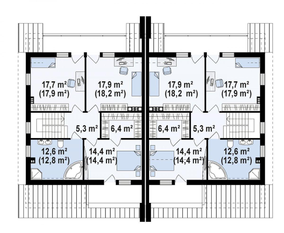 Второй этаж 74,0(75,1м²) дома Zb15
