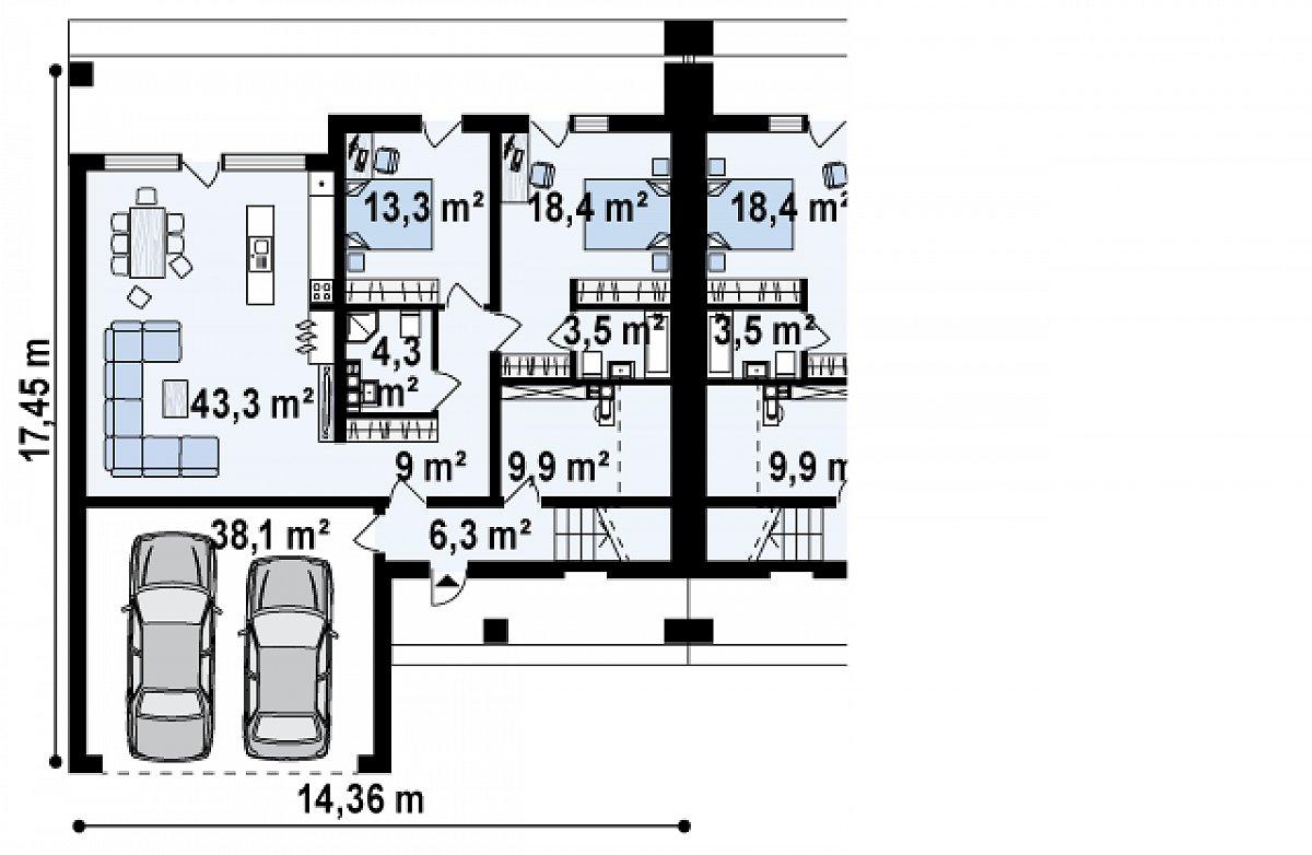 Первый этаж 99,0(137,1м²) дома Zb16
